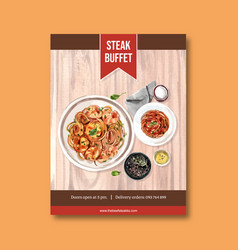 Steak poster design with spaghetti napkins vector