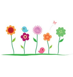 summer floral border vector image