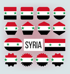 syria various shapes national flags set vector image