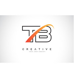 Tb t b swoosh letter logo design with modern vector