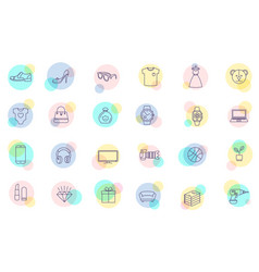 Thin line shopping icons vector