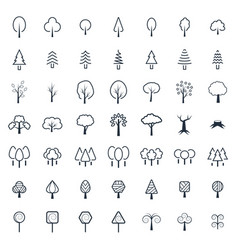 tree icon set in thin line style symbols vector image