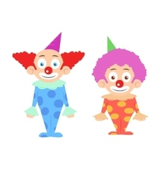 Two funny colorfull clowns cartoon character vector image
