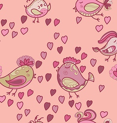 Valentine pattern with hearts birds vector image