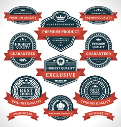 Vintage labels and ribbon retro style set vector image