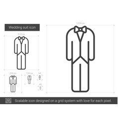 Wedding suit line icon vector