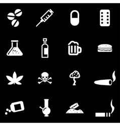 white drugs icon set vector image
