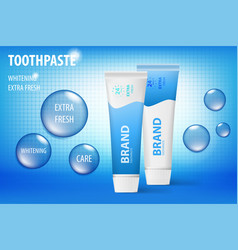 Whitening toothpaste concept isolated on blue vector