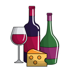 Wine bottles and cup design vector
