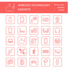 wireless devices flat line icons wifi internet vector image