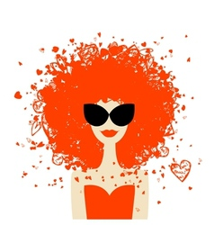 Woman portrait with orange hairstyle summer style vector image