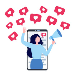 woman with megaphone on a screen smartphone vector image
