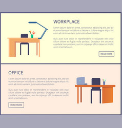 workplace in office web posters set empty tables vector image