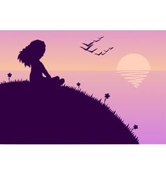 girl glazing sunset vector image vector image