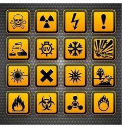 hazardous materials symbols vector image vector image