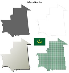 Mauritania outline map set vector image vector image
