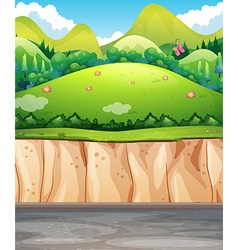 Nature scene with field and cliff vector image
