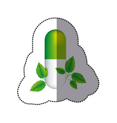 sticker green pill medical in capsule shape with vector image