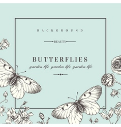 Summer background with flowers and butterflies vector image vector image