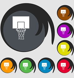 Basketball backboard icon symbols on eight colored vector