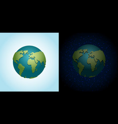 earth night and day set nighttime planet in space vector image vector image