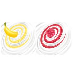 Milk cream yogurt swirl with raspberry banana vector