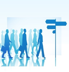 People are walking to direction sign vector image vector image