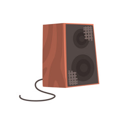 wooden audio speaker musical equipment cartoon vector image vector image