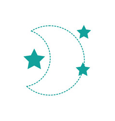 dotted shape cute moon with stars in the night vector image