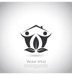 Green house logo Happy family icon eco lover vector image vector image