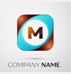 letter m logo symbol in the colorful square on vector image