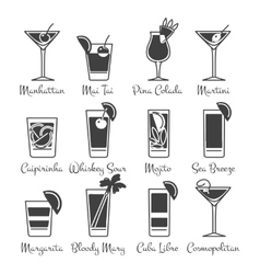 Monochromic drinks icons set vector image