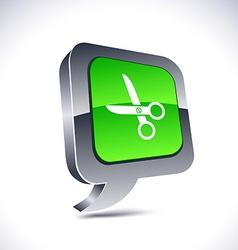 scissors 3d balloon button vector image vector image