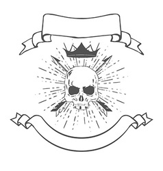 Skull with Crown and Banners vector image vector image