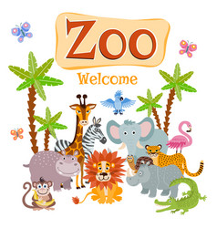 zoo with wild cartoon safari vector image vector image