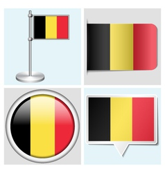 Belgium flag - sticker button label flagstaff vector image