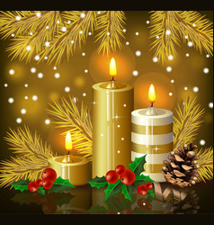 christmas candles background holy night eve vector image