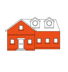 Color silhouette cartoon orange facade big vector