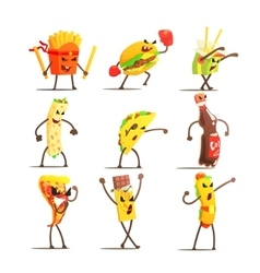 Fast food cartoon characters set vector