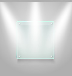 glass board illuminated on the wall mockup vector image