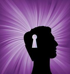 Human head with keyhole mark symbol vector image vector image