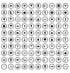 100 mushrooms icons set simple style vector
