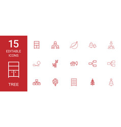 15 tree icons vector image