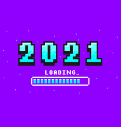 2021 pixel art banner for new year vector image