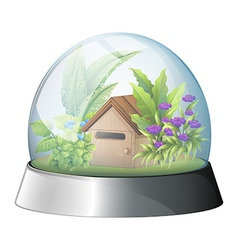 A dome with a native house inside vector