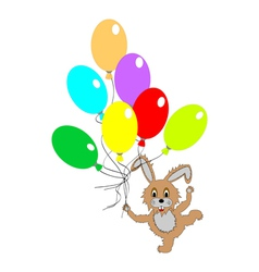 A funny rabbit with many colorful balloons vector image