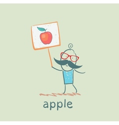a man with a sign painted apple vector image