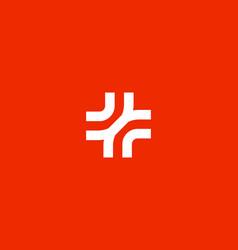 Abstract line medical cross logo design plus vector
