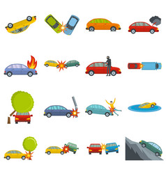 accident car crash case icons set isolated vector image
