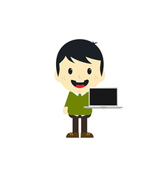 adorable boy with laptop cartoon character vector image